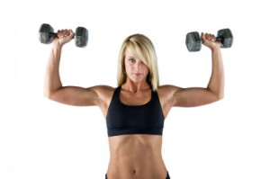 Fitness - Beautiful Young Fit Woman Doing Shoulder Press (XL)